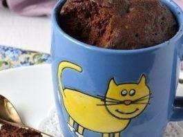 Нежный шоколадный кекс в микроволновке. Всего 5 минут на приготовление!