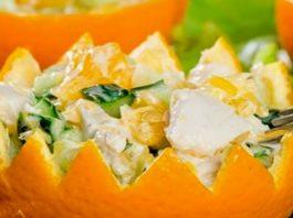 Салат из курицы с апельсином и огурцом
